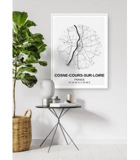 Affiche Carte Cosne-Cours-sur-Loire
