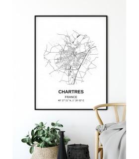 Affiche Carte Chartres