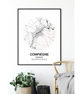 Affiche Carte Compiègne