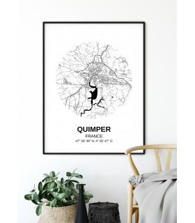Affiche Carte Quimper