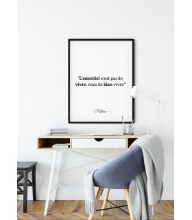 """Affiche Platon : """"L'essentiel n'est pas de vivre"""""""