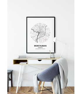 Affiche Carte Montauban