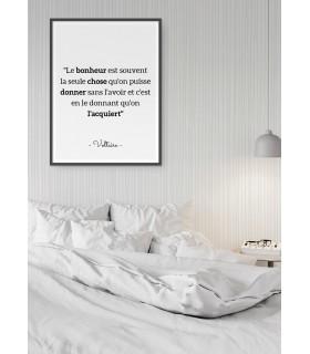 """Affiche Voltaire : """"Le bonheur est souvent..."""""""