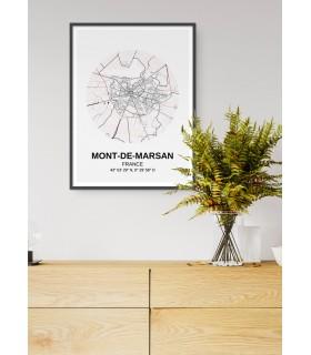 Affiche Carte Mont-de-Marsan