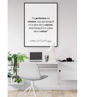 """Affiche Antoine Saint-Exupéry : """"La perfection est atteinte..."""""""