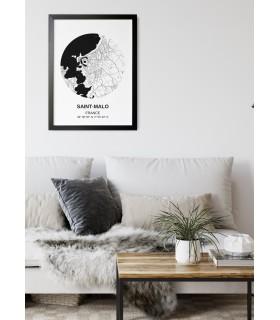 Affiche Carte Saint-Malo