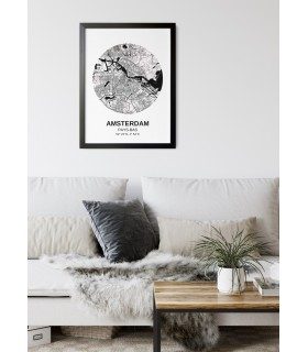 Affiche Carte Amsterdam