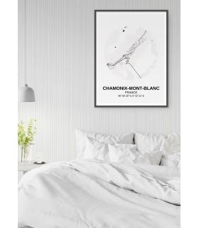 Affiche Carte Chamonix-Mont-Blanc