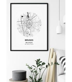 Affiche Carte Bruges