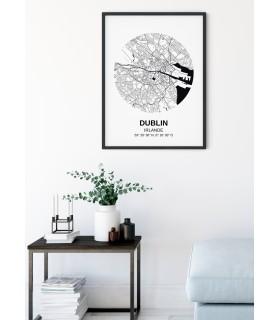 Affiche Carte Dublin