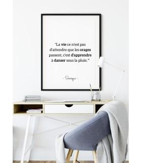 """Affiche Sénèque : """"La vie ce n'est pas..."""""""