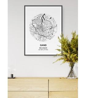 Affiche Carte Gand