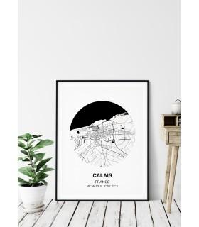 Affiche Carte Calais