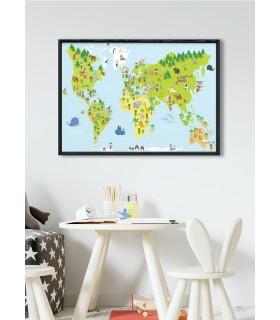 Affiche Carte du Monde Enfant