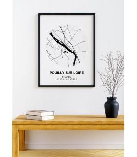 Affiche Carte Pouilly-sur-Loire