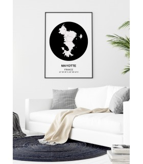 Affiche Carte Mayotte