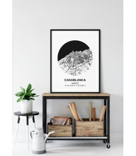 Affiche Carte Casablanca