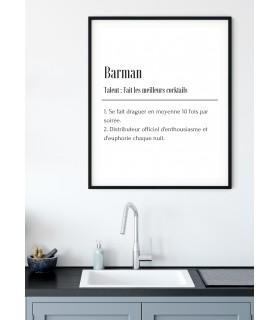 Affiche Définition Barman
