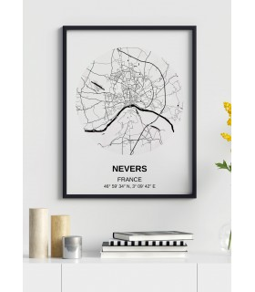 Affiche Carte Nevers
