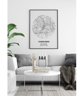 Affiche Carte Charleroi