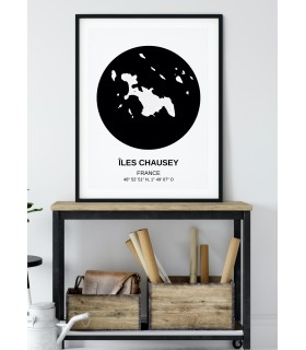 Affiche Carte Îles Chausey
