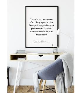 """Affiche G.Clemenceau : """"Une vie est oeuvre d'art..."""""""