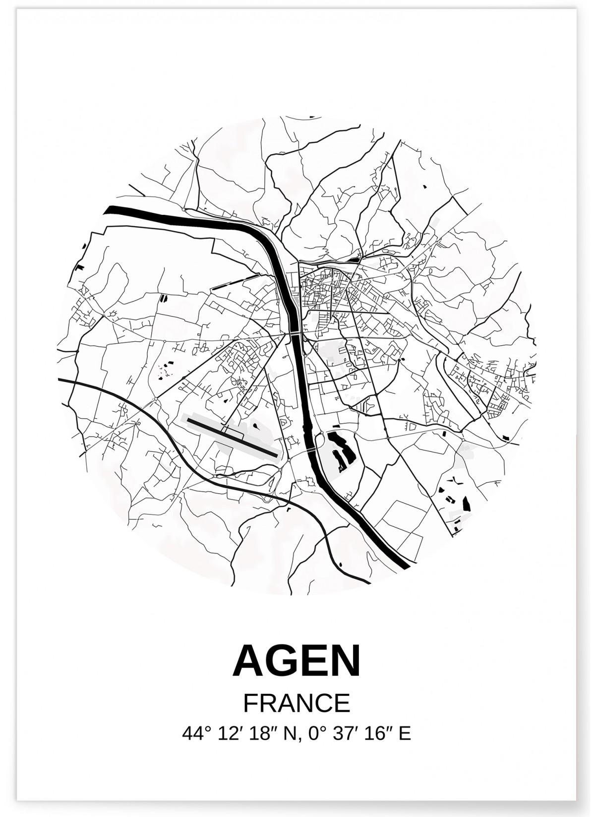Carte Agen, Affiche Ville à afficher dans le salon | L'Afficherie